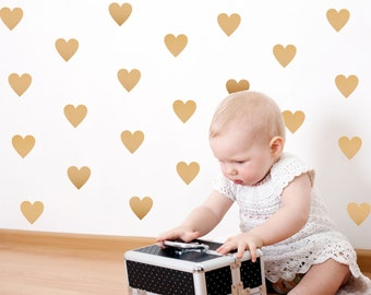 Gold Heart Wall Decals // Peel and Stick // Heart Wall Stickers // Metallic Gold // Nursery Stickers // Gold Heart Decor