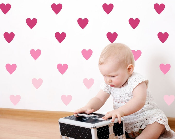 Heart Wall Decals // Stickers for Babys Room //  35 colors including Metallic Gold //   Made in the USA // 204 Heart Stickers in Pack