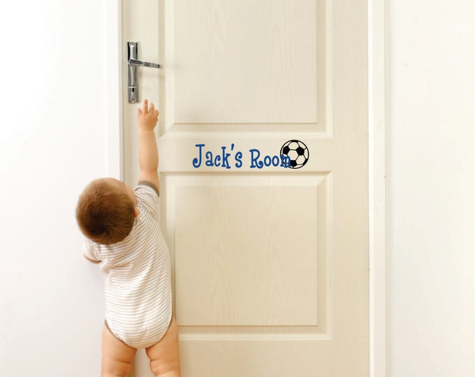 Soccer Wall Art, Wall Decal Boys Room, Custom Name Decal, Name Wall Decals, Soccer Wall Decor, Sports Wall Decal, Vinyl Stickers, Lucylews