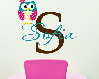 Owl Wall  Decals - Name Wall Decal - Childrens Wall Decals -  Nurser Vinyl Wall Decal  Personalized Name