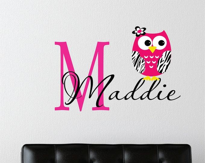 Zebra Print, Owl Wall Decal, Custom Name, Owl Nursery Decor, Girl Name Decal, Vinyl Stickers, Modern Wall Art, Teen Preteen Girls, Monogram