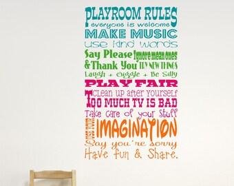 Childrens Wall Decor // Playroom Rules Wall Decal // Childrens Playroom Wall Decal // Childrens Wall Decal // Playroom Decor