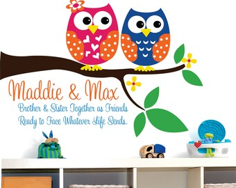 Owl Decor Wall Decal // Childrens Wall Decal Sister and Brother Owls // Childrens Owl Decor // Personalized Wall Decal // Sister and Brother