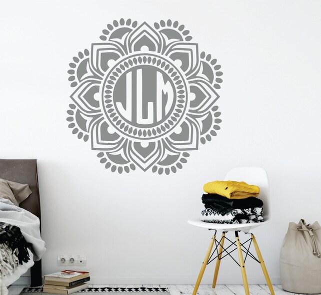 Mandala Monogram Wall Decal // Nursery Wall Decal // Mandala   Etsy