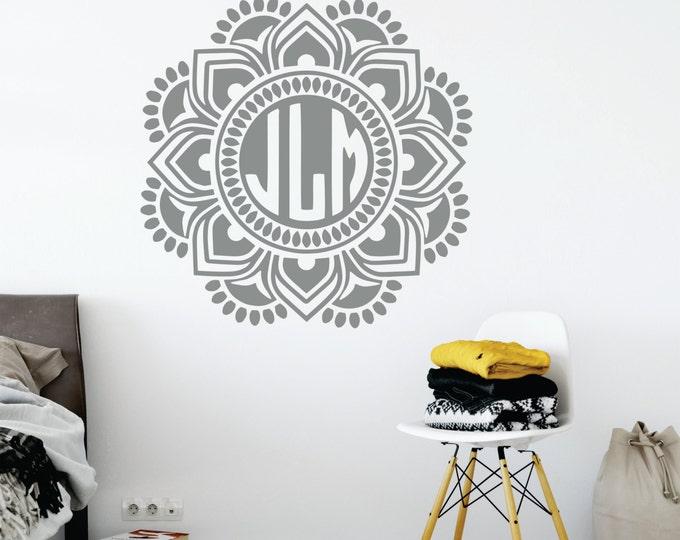 Mandala Monogram Wall Decal // Nursery Wall Decal // Mandala Wall Decal // Custom Monogram // Wall Decor // Boho Wall Art