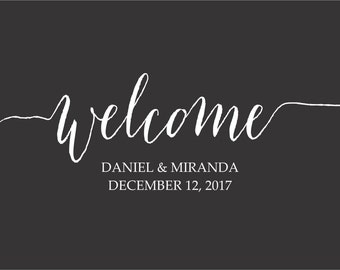 Personalized Welcome Decal  // Wedding Gift // Wall Decor //  Wedding Day Sign // Welcome Wedding // Custom Welcome //Wedding Date