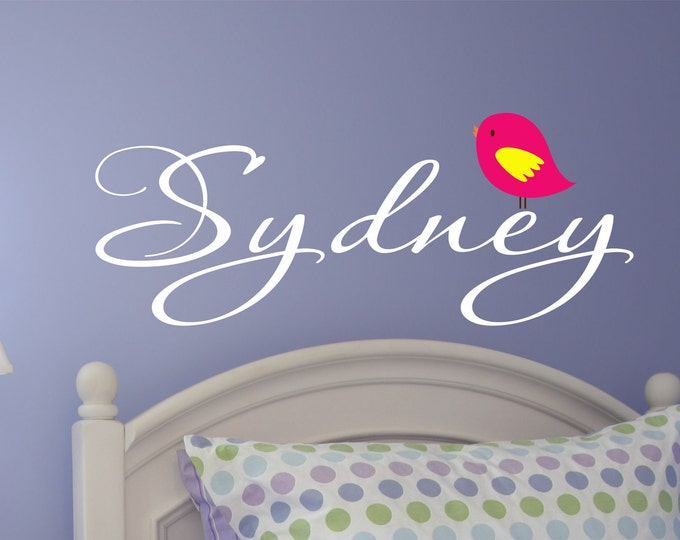 Bird Vinyl Decal, Vinyl Decal Name, Wall Decals, Bedroom Wall Art, Teen Preteen Girls, Girl Name Decal, Teen Room Decor, Nursery Wall Decal