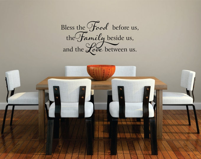 Bless The Food Before Us Wall Decal // Kitchen Wall Art // Food, Family, Love  // Family Decal // Home Decor // Family Blessing