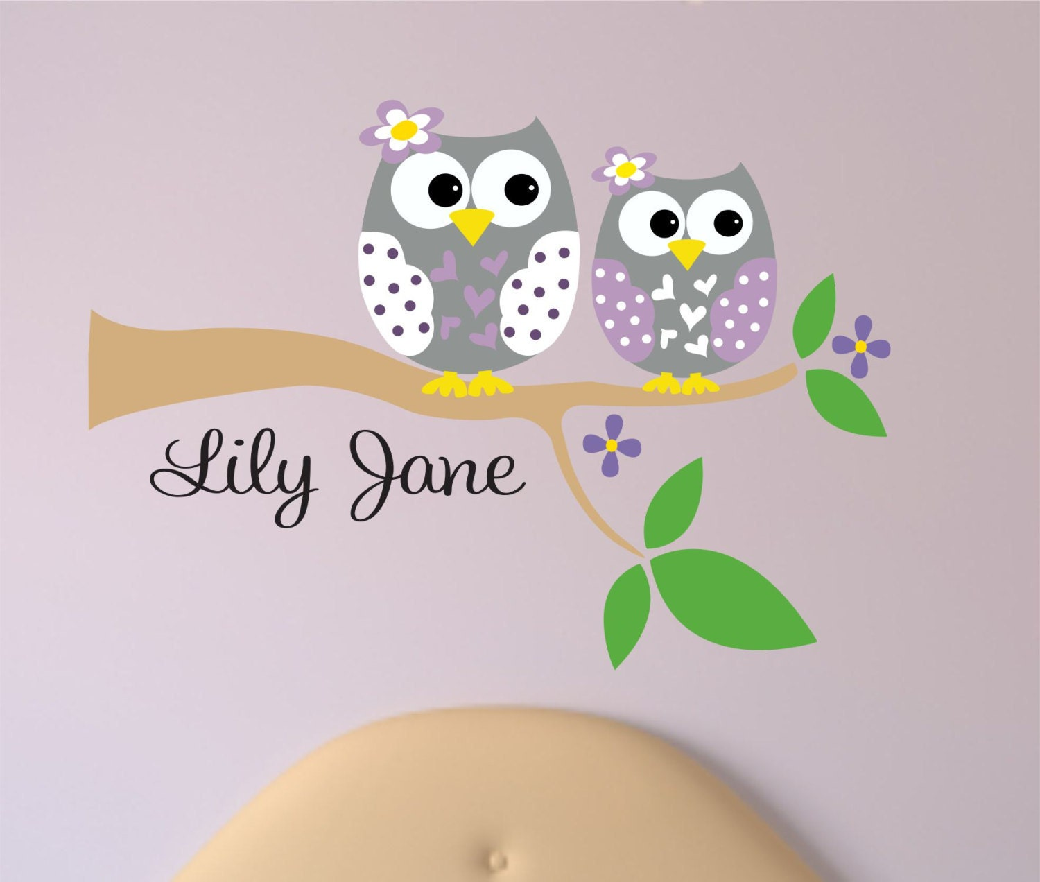 Personalized Owl Decal - Name Wall Decal - Owl Wall Decals - Tree branch with Owl Sisters wall Decal. & Personalized Owl Decal - Name Wall Decal - Owl Wall Decals - Tree ...