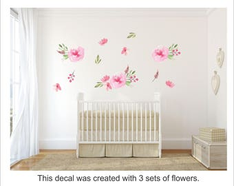 Floral Wallpaper for Renters  / Removable  and Reusable Fabric Floral Wall Decal  / Flower Wallpaper / Peel and Stick Temporary Wallpaper