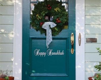 Happy Hanukkah Door Decal - Small Decal - Hanukkah  Front Door  Decal - Christmas Decoration