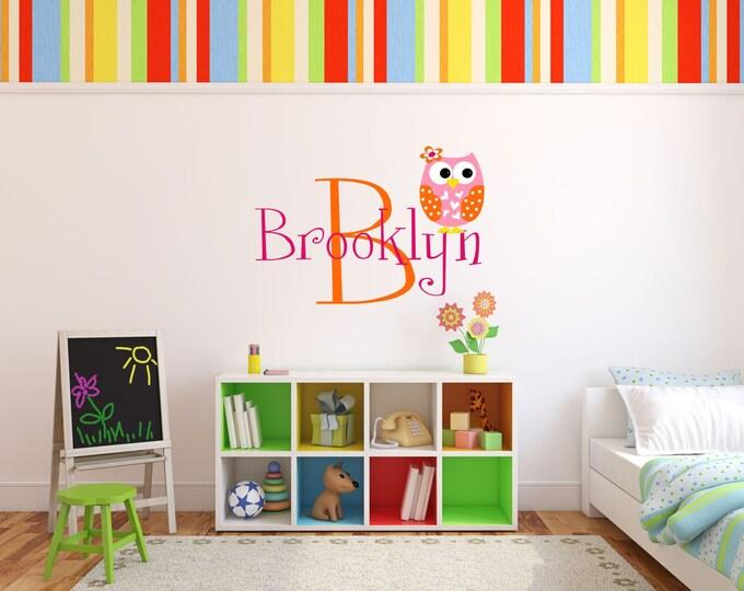 Baby Girl Nursery, Nursery Name Sign, Vinyl Stickers, Owl Nursery Decor, Owl Wall Art, Nursery Art, Kids Room Decor, Girls Name Sign, Custom