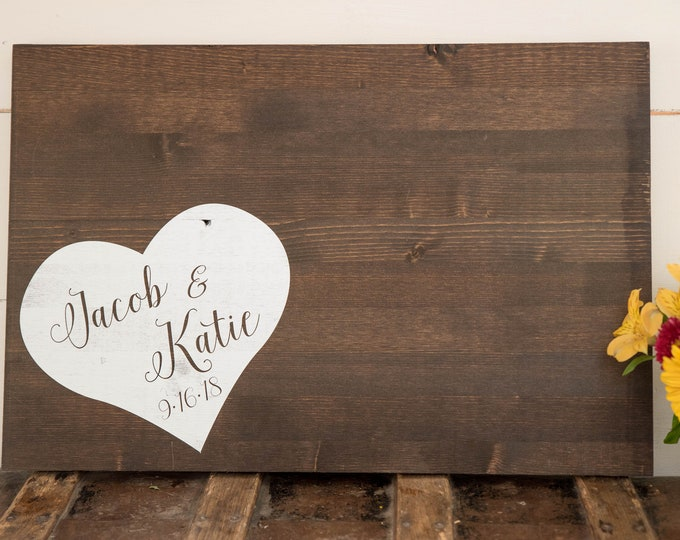 Wedding Guest Book Alternate // Wood Guest Book Wedding // Rustic Wood Wedding Sign // Personalized Wedding
