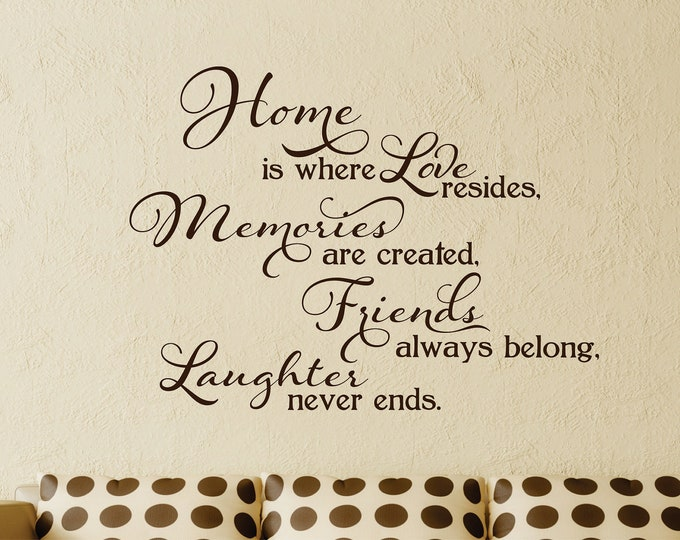 Home Is Where Love's Resides Wall Decal // Home, Memories, Friends, Laughter // Home Decor // Family Wall Decal // Family Saying