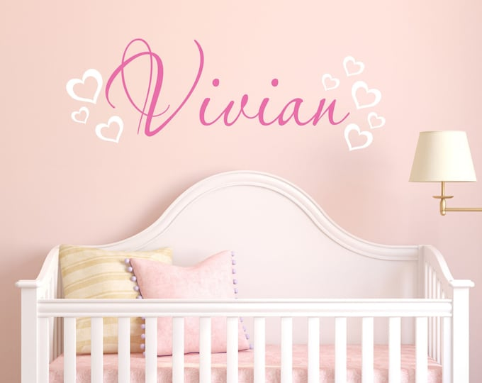 Wall Decor Bedroom, Hearts, Custom Name, Vinyl Decals, Wall Stickers, Wall Decals Nursery, Kids Room Decor, Girl Name Decal, Name Sign Kids