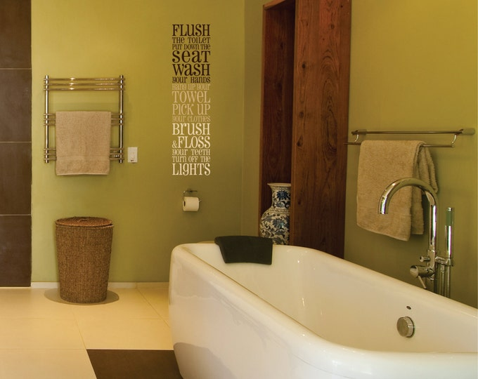 Bathroom Wall Decal // Bathroom Vinyl Wall Decal // Bathroom Subway Art Decor //  Bathroom Sticker