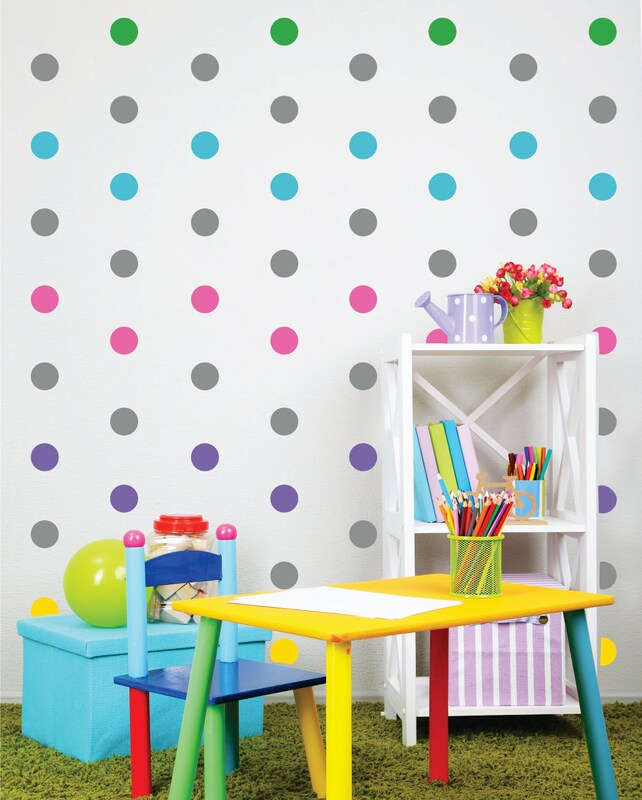 Polka Dot Wall Decals Peel And Stick Dots Nursery Wall Etsy