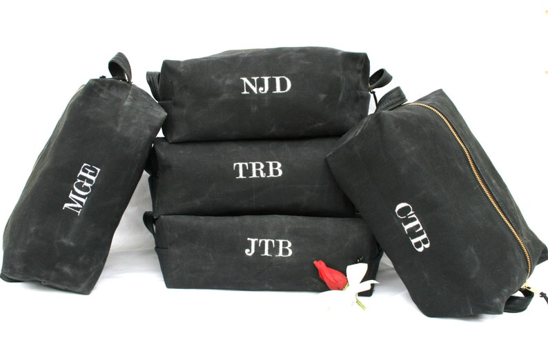 5c5976f510 Waxed Canvas Dopp Kit Mens Toiletry Bag Groomsman Gift