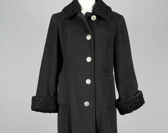 Vintage 1980's Charcoal grey wool/cashmere coat with black Persian lamb collar and cuffs, size 8.