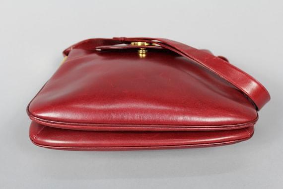 Vintage GUCCI burgundy red leather handbag / shou… - image 8