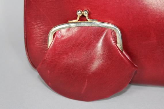Vintage GUCCI burgundy red leather handbag / shou… - image 5