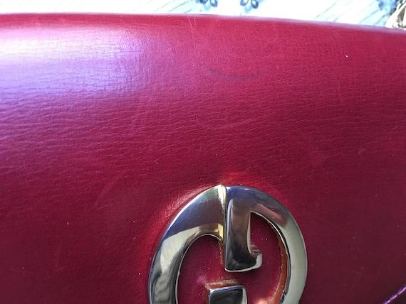 Vintage GUCCI burgundy red leather handbag / shou… - image 3