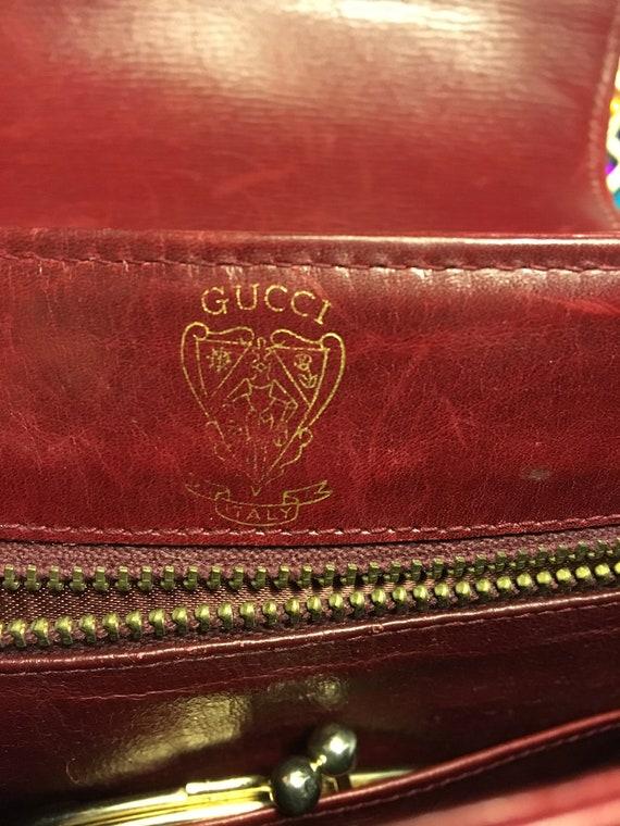 Vintage GUCCI burgundy red leather handbag / shou… - image 7