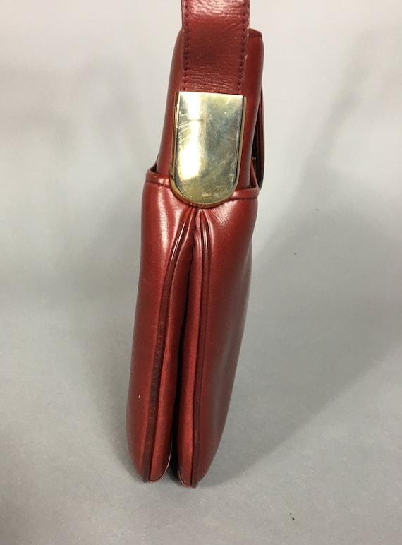Vintage GUCCI burgundy red leather handbag / shou… - image 10