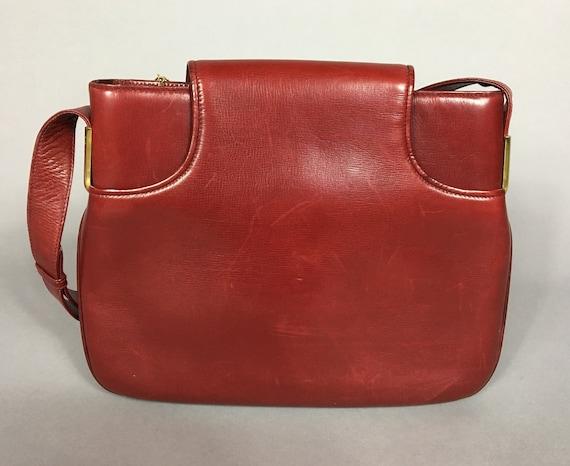 Vintage GUCCI burgundy red leather handbag / shou… - image 2