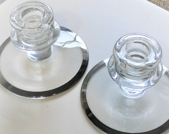 molded glass candle stick holders with silver trim