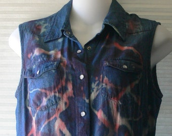 hand dyed sleevless shirt size small