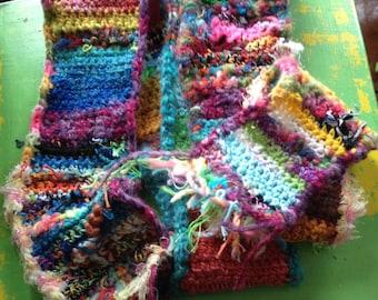 Rainbow Beast OOAK Crochet Recycled Scrap Scarf