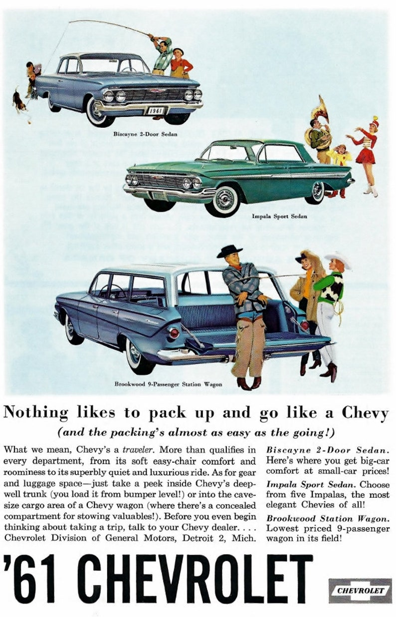 998246f54c184 Vintage Chevrolet Advertisement 1961 Chevy Impala Covertable Brookwood  Station Wagon Bel Air Sports Sedan Car Collectable Advertisement