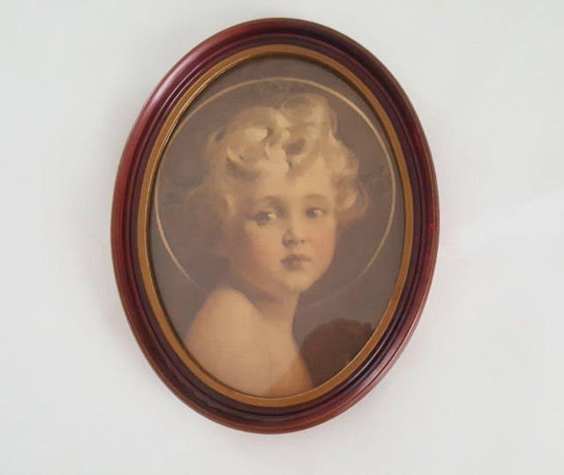 Intelligent Antique Vtg Framed Religious Art Wood Picture Frame Madonna Child Angel Cherub Picture Frames Decorative Arts