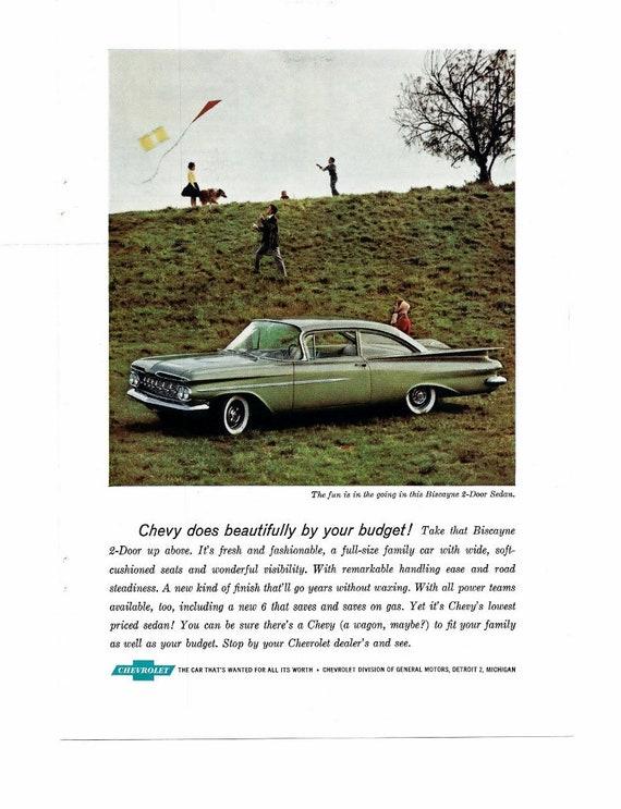 482e54f6ea986 Original 1961 Cherolet Biscayne 4 Door Sedan Chevy Impala Sort Coupe  Advertisement Colored Chevrolet 1960 Car Ad Paper Ephemera