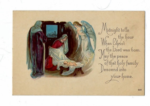 vintage religious christmas card nativity scene nos