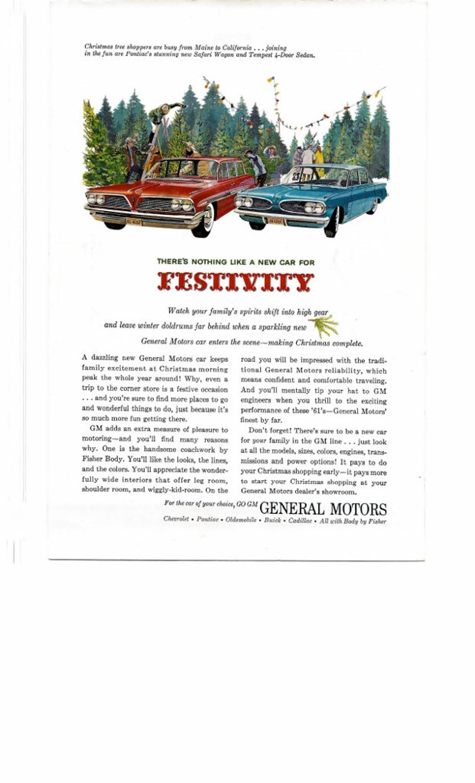 ccbf55a559a1f 1950's Original Pontiac Christmas Advertisement Safari Wagon Tempest 4 Door  Sedan Car Ad Frameable Print Garage Den Decor Car Collectable