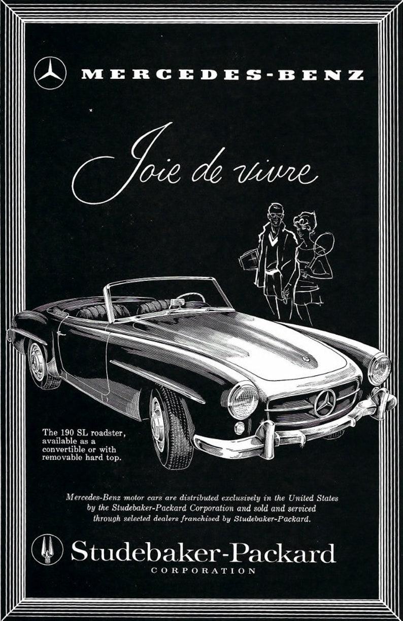 55cc306ed565f Original 1950 Mercedes Benz 190 SL Roadster Ad Studebaker-Packard  Advertisement Garage Den Car Collectable Wedding Craft Paper Emphera