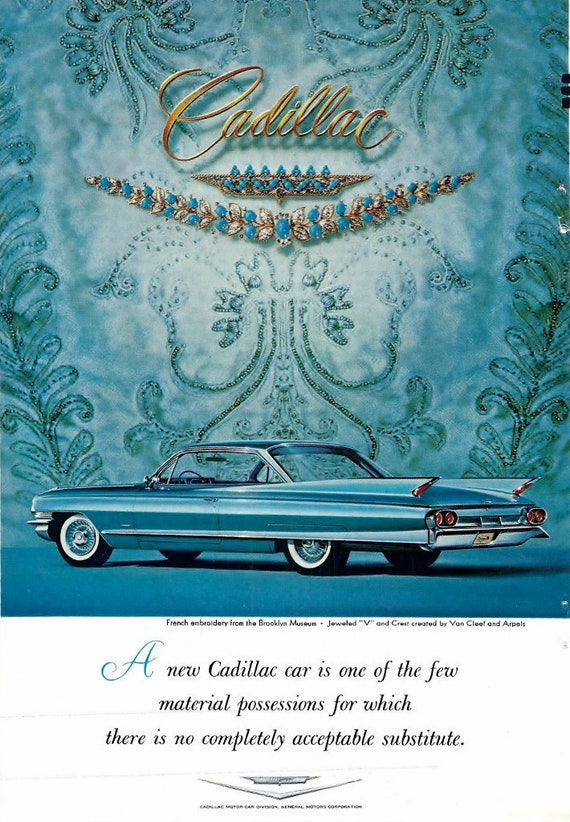 41c144a6a8e1a Original 1950 Cadillac Car Ad Special Van Cleef and Arpel Jewelry  Advertisement Frameable Print Garage Den Car Collectable