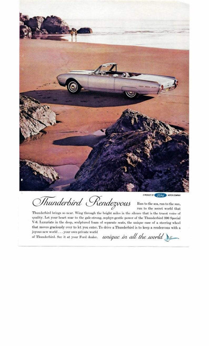 6b56cc37fae8a 1960 Thunderbird Car Advertisement Thunderbird Rendezvous Convertable  Frameable Print Garage Den Man Cave Decor Car Collectable