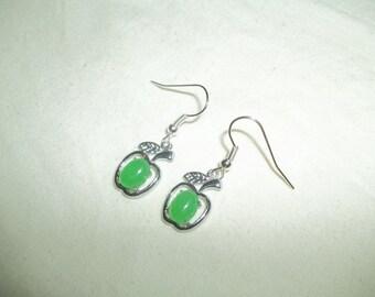 Beautiful Dangling Jade Green Apple Earrings
