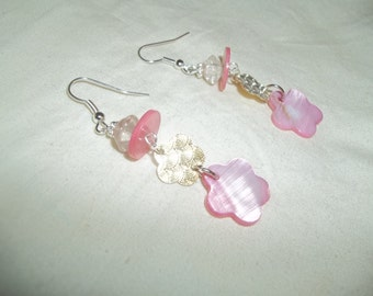 Beautiful Dangling Pink Shell Flower Charm Earrings