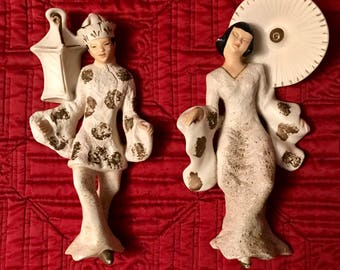 Set of 2 Vintage Chalkware Asian Oriental Man & Woman Plaques Wall Hangings Wall Decor. Coventry Ware.