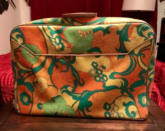 df4166255fc Vintage Trippy Psychedelic Floral Fabric Suitcase Overnight Bag Valise  Color-Mates Made by Sarne in Japan