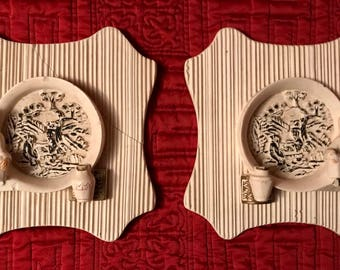 Set of 2 Vintage Chalkware Asian Oriental Boy and Girl Plaques Wall Hangings Wall Decor.