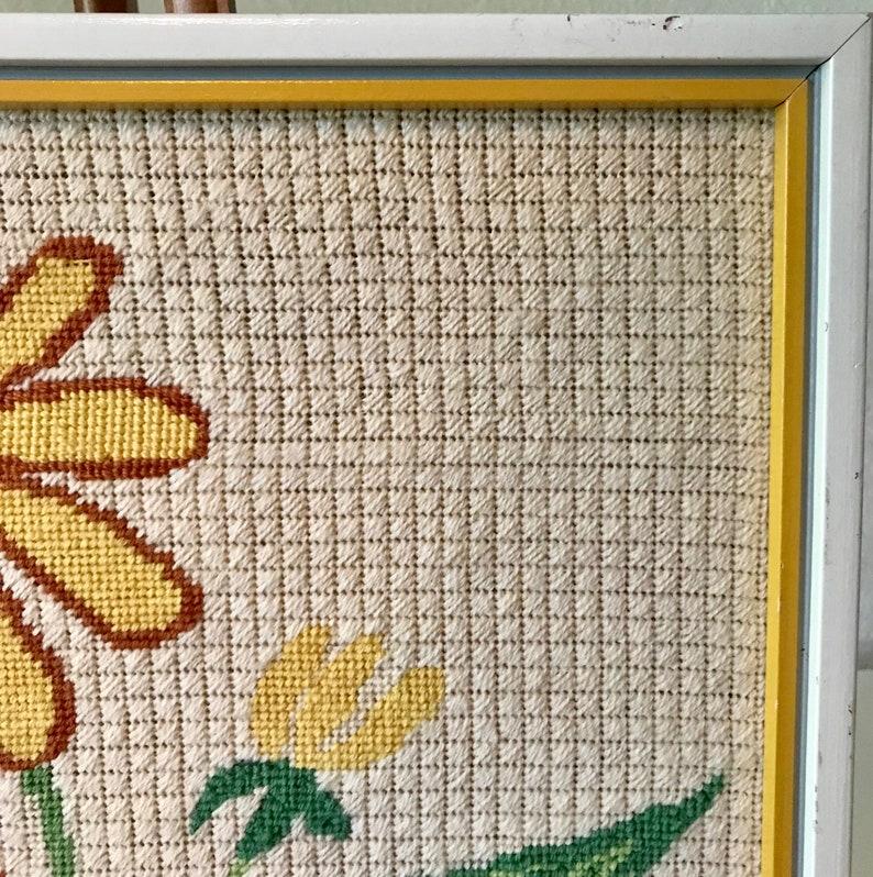 Vintage Black-Eyed Susan Flower Needlepoint in White Frame  17 34 x 16 34 Yellow Flower