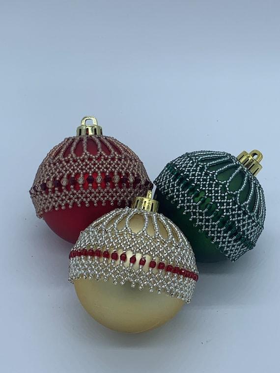 Set Of 3 Beaded Christmas Ornaments Etsy