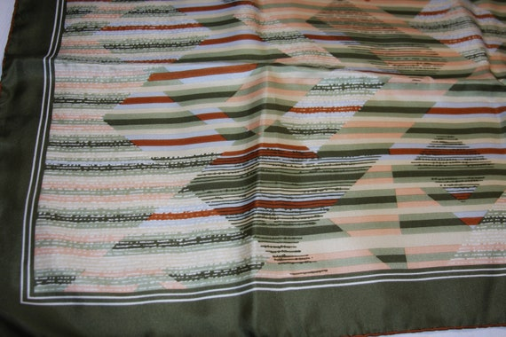 Silk Scarf  / Bandana Green Geometric Stripes 29 x