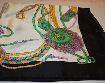 "Vintage Designer Silk Scarf - Black White Green Yellow Lavender - Ropes - 33 x 33"""