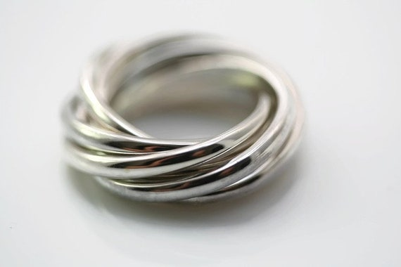 Rolling Ring Silver 7 Band Russian Wedding Ring 7 Etsy